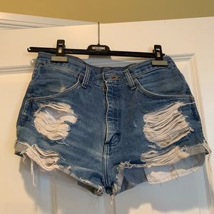 Wrangler destroyed jean shorts